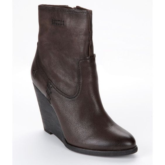 Frye Cece Artisan Leather Wedge Booties ($368) ❤ liked on Polyvore featuring shoes, boots, ankle booties, women, wide riding boots, leather wedge booties, wide booties, wedge heel booties and leather ankle booties