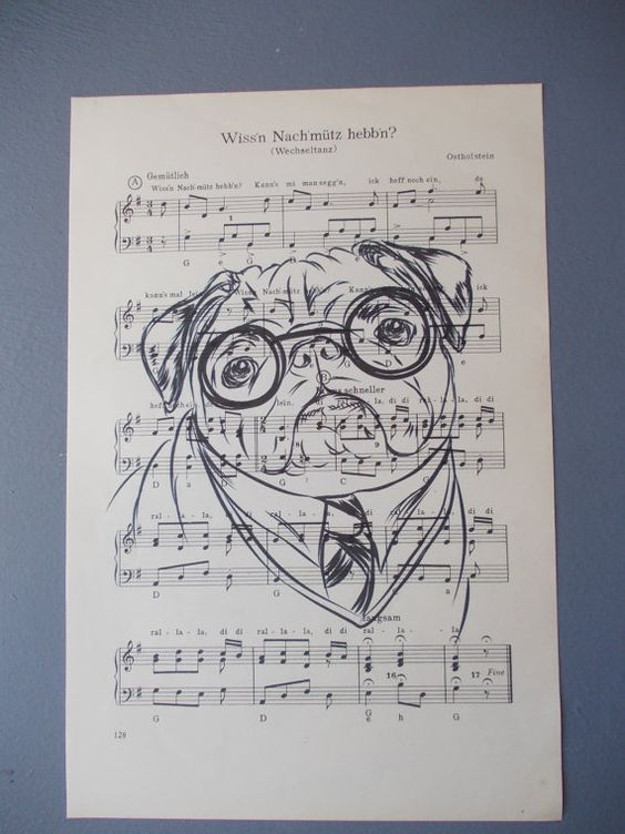 PUG Print / Print on Vintage Music Page / Dog / Pug by EUvintage
