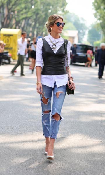 Helena Bordon - top de couro + jeans destroyed