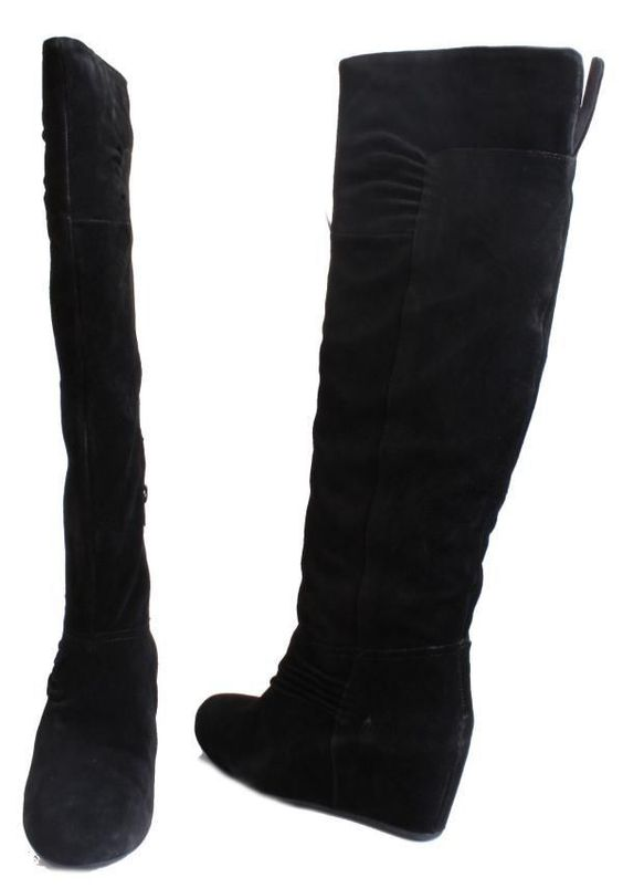 Details about Nine West Amelie Womens Black Suede Knee High Wedge