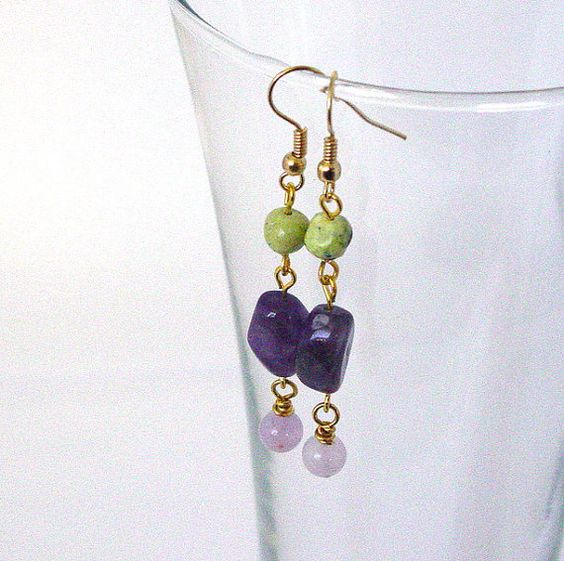 Amethyst and Chrysotine Earrings by Pookledo on Etsy, £4.00