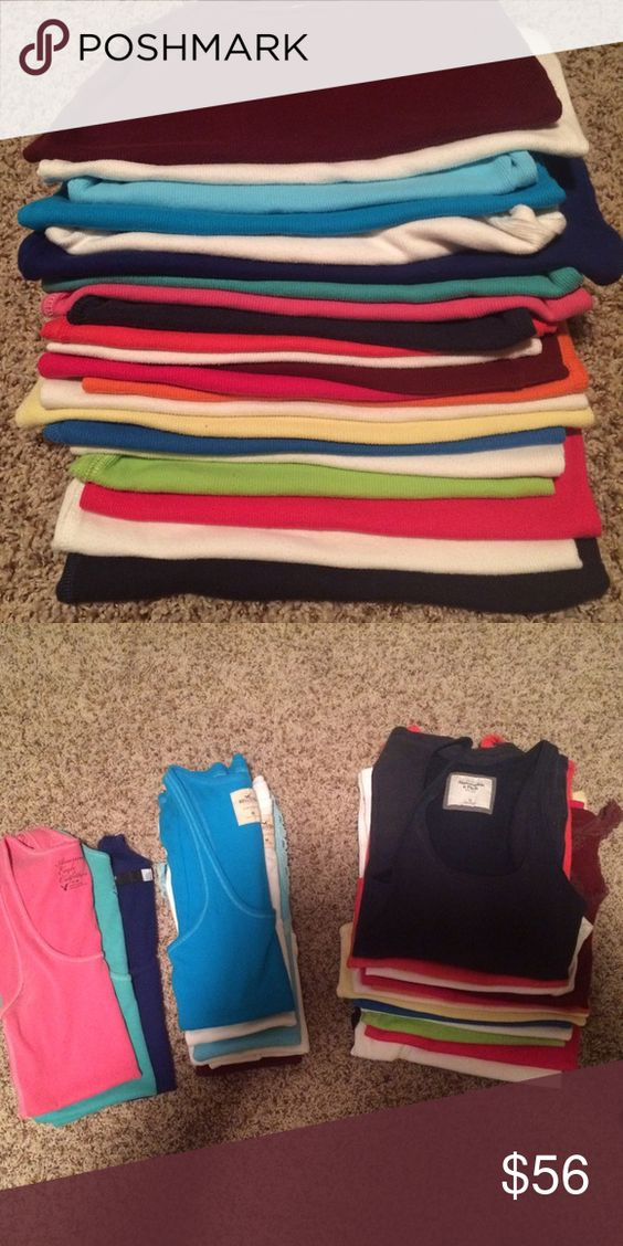 Tank tops 22 tank tops: 2 AE, 1 Fox, 5 Hollister, and the rest are Abercrombie and Fitch. Will ship all for the listing price. Abercrombie & Fitch Tops Tank Tops