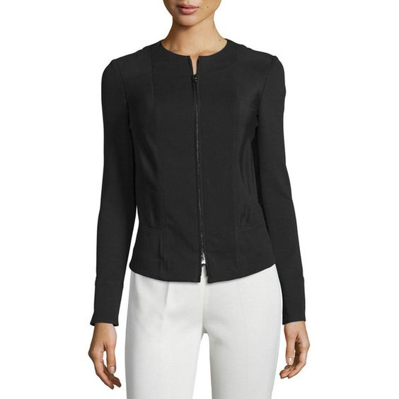 Donna Karan Long-Sleeve Zip-Front Jacket ($555) ❤ liked on Polyvore featuring outerwear, jackets, black, long sleeve jacket, zip front jacket, donna karan jacket, donna karan and lined jacket