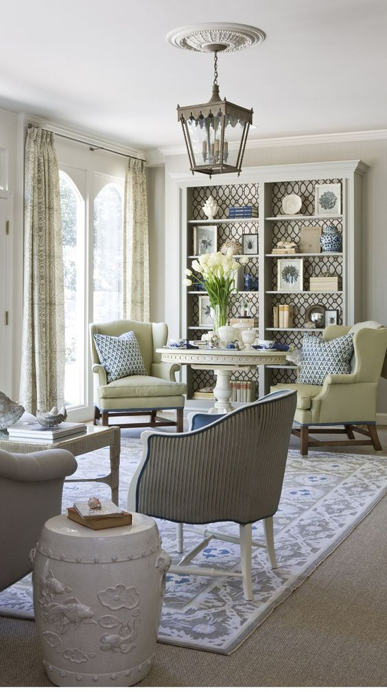 Beige blue and green living room design by marika meyers for Green and beige living room ideas