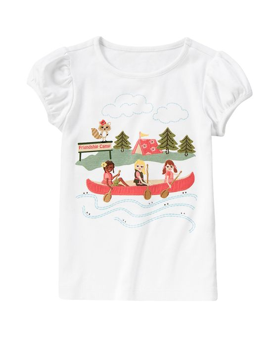 A trio of super stylish friends at camp ride in a canoe on our glammed-up tee. WARNING: CHOKING HAZARD - Small parts. Not for children under 3 yrs.