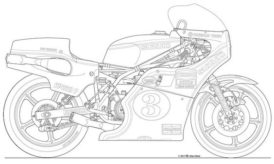 """Suzuki_XR14_late_77_frng    A 1977 Factory Suzuki XR14, later model with """"enclosed"""" seat. This bike was ridden by Pat Hennen, the 1st American to win a FIM 500cc GP. This and other drawings can be ordered as limited edition prints. Contact me, Mick Ofield. ofieldTN@blomand.net"""