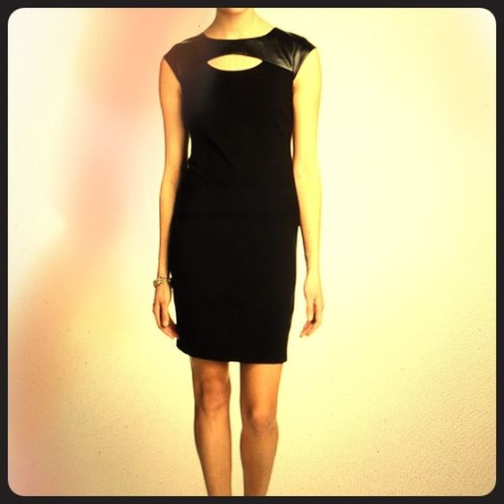 Catherine Malandrino Ambrose Black Dress Perfect LBD with a little twist - faux leather yoke with front cut-out.  Rear exposed zipper goes full length of the dress - fully lined pointe knit - great for the office or dinner and drinks! Catherine Malandrino Dresses
