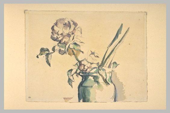 768.jpg (768×512)CEZANNE Paul Ecole française  Rose dans un vase vert Aquarelle et mine de plomb H. 00,235m ; L. 00,311m