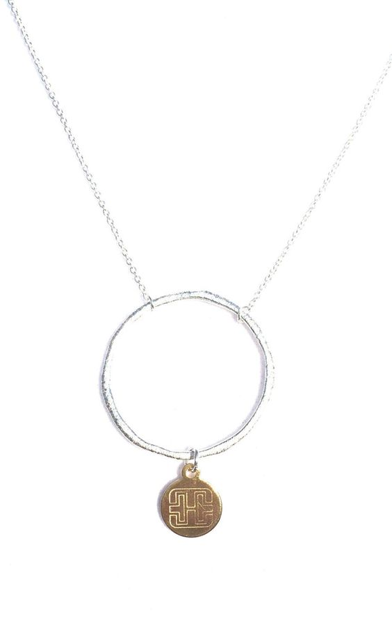Textured Circle Logo Disc Drop Necklace  #circle #jewelry #necklace #silver #gold #twotone