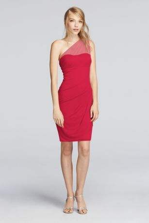 This contemporary one shoulder dress will have you looking and feeling like a knockout.  Mesh fabricflows intoa side cascadethat creates a sense of movement in this fitted dress.  Illusion one shoulder detail elevates the style of this stunner.  Fully lined. Zipper Back. Imported polyester. Dry clean only.  Also availble in Extra Length Sizes as Style 2XLF19038. To protect your dress, try our Non Woven Garment Bag.