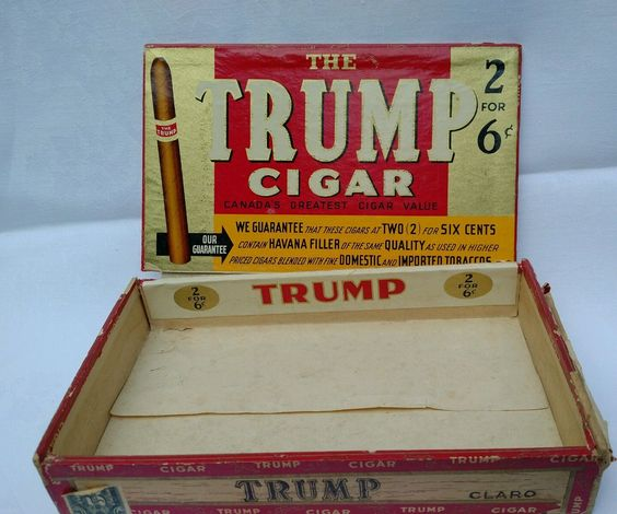 TRUMP wooden vintage cigar box wood political collectible • CAD ...