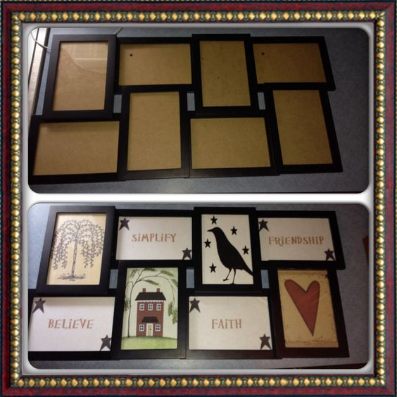 DIY primitive country decor, picture frame before/after. Used home printer and paper!