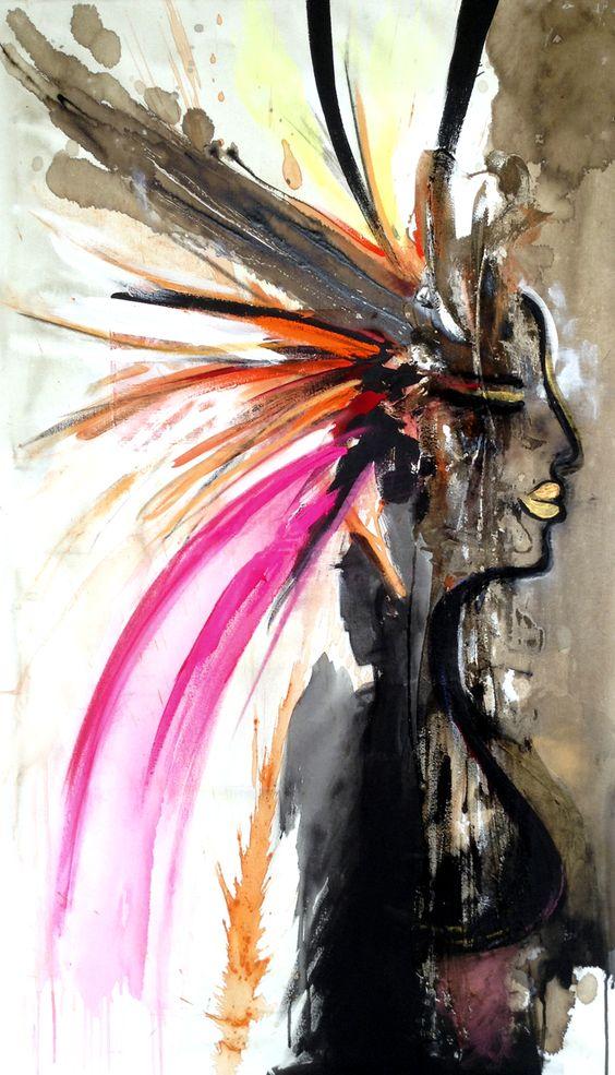 Cuadro INDIA Técnica mixta sobre lienzo. 70cm x 120cm hola@penseenvos.com #mujer #woman #womensday