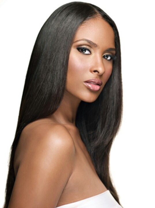 Bone straight relaxed hair