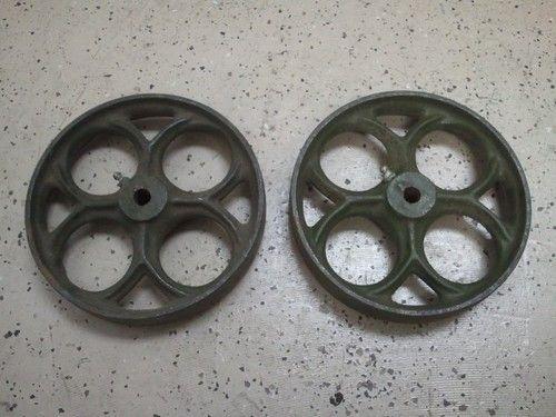 Antique Cast Iron Flywheels : Set of cast iron antique industrial old cart wheels