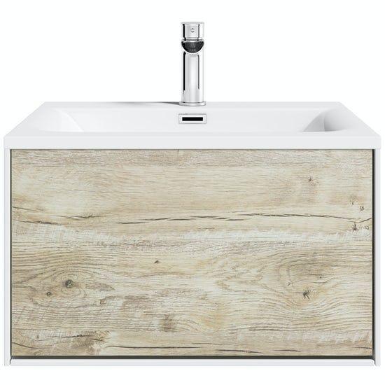 Mode Burton White Rustic Oak Wall, Mode Burton White Wall Hung Vanity Unit And Basin 600mm