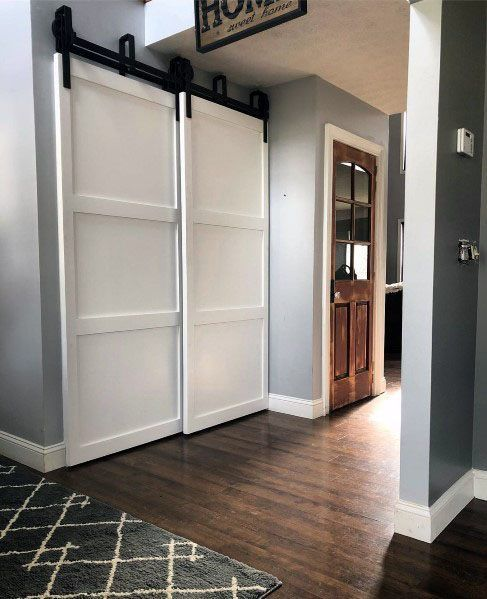 Home Closet White Painted Simple Interior Barn Door Design Interior Barn Doors Barn Door Designs Barn Doors Sliding