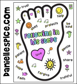 Following In His Footsteps Bible Coloring Sheet For