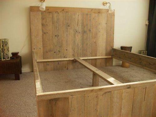 Steigerhouten tweepersoonsbed steigerhout bed slaapkamer bedden nieuw 2 - Ontwerp hoofdbord ...