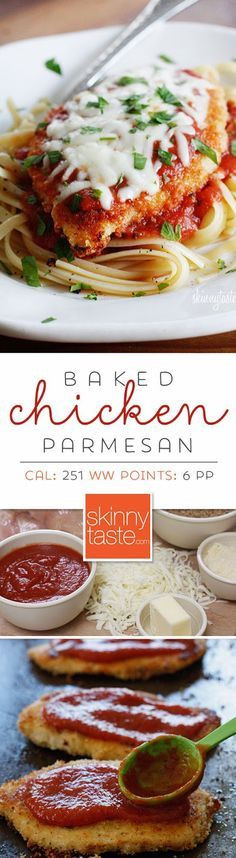 Baked Chicken Parmesan- Delicious, easy, and quick. 6 ingredients and about half an hour. I didn't even have to fight the girls about eating it! Highly recommend.