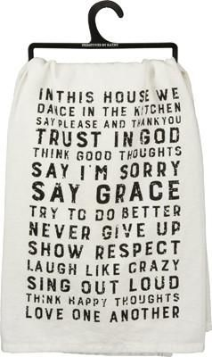 "Add a little farmhouse charm to any kitchen with our ""In This House"" dish towel!  SIZE: 28"" Square Cotton"