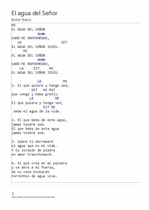 El Agua Del Señor Con Acordes Letras Y Acordes Letras De Canciones Cristianas Canciones Cristianas