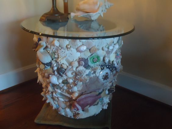 Large pot with a glass top makes a nice side table.
