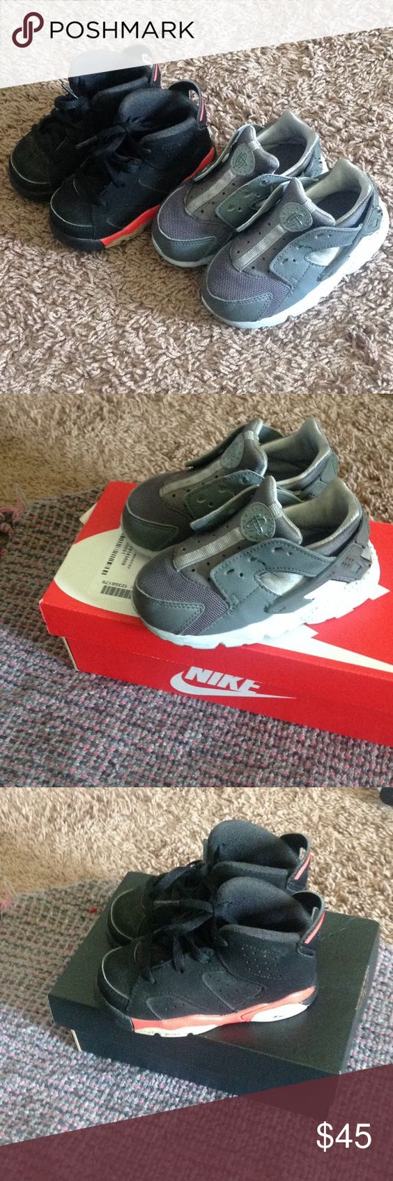 Nike and Jordan Toddler Boy Sneakers Size 7 Grey Nike Huaraches worn and missing shoelaces, Jordan 5 Retro Low Black and Infra Red.. Both sneakers look used.. Will provide better pic if needed Shoes Sneakers