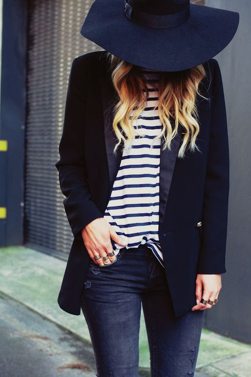 stripes and blazer:
