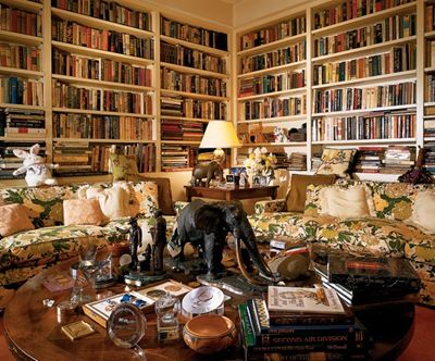 Jimmy Stewart's home library in Beverly Hills. On the low table are a Presidential Medal of Freedom, the nation's highest civilian honor, and a book of poems Stewart published in 1989.