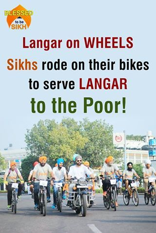 #BlessedtobeSikh Langar on WHEELS- Sikhs rode on their bikes to serve LANGAR to the Poor! 'Langar on Wheels' Sikh Cycle Rally, marked the beginning of this international campaign. About 40 cyclists rode 21 kms on the streets of Delhi while sharing Langar with the homeless and people on streets. The participants spread awareness about the relevance and principles of Langar with Delhiites by sharing leaflets and leaving them with some food for thought. Share & Spread to bless these noble…