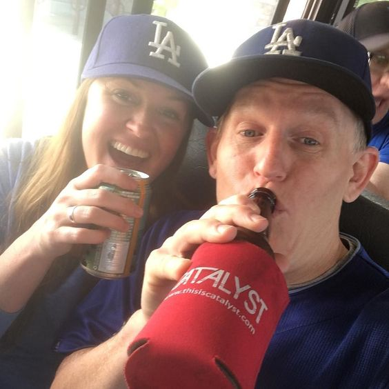 THINK BLUE: @figmtnbrew mug on the run to @dodgers stadium with my first mate @dogsridingincars by jongrover