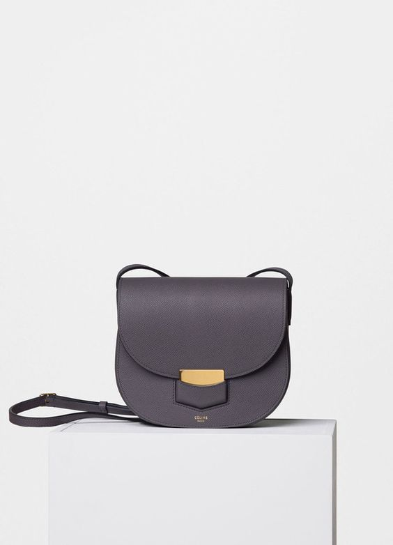 celine tan bag - C��line small Trotteur shoulder bag in light anthracite grained ...