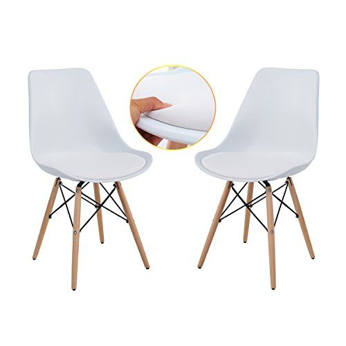Dining Chairs Eames Style Soft Padded Seat Modern Plastic Https