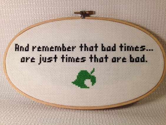 Hand stitched animal crossing quote on etsy