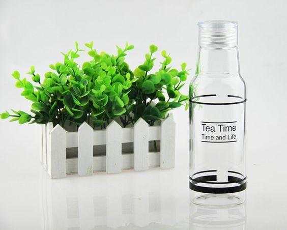 Amazon.com : Bestwoohome Glass Water Bottles Surface Graffiti Beverage Milk Cup…
