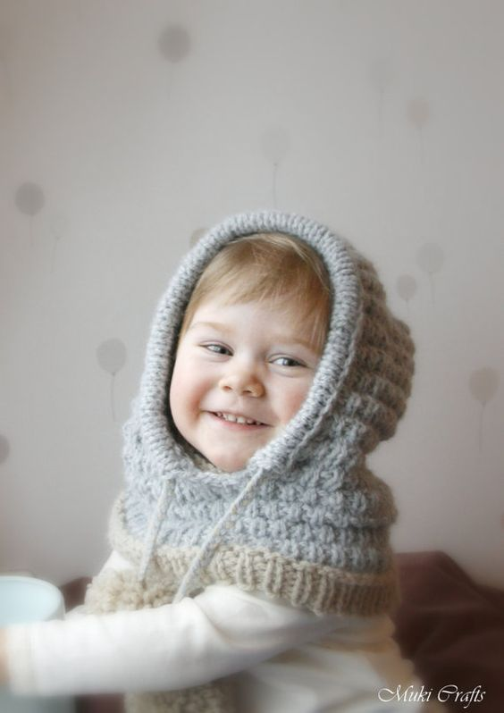 Knitted Cowl Pattern For Toddler : Hooded cowl Jordan PDF knitting pattern for baby, toddler, child and adult si...