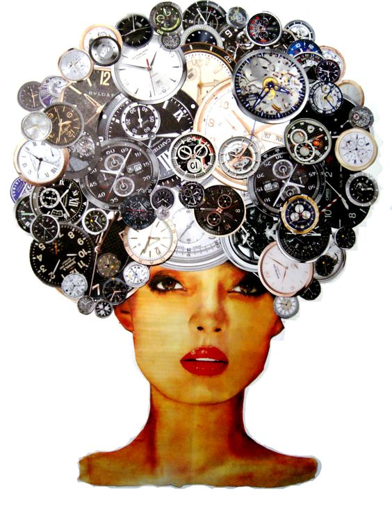 Afro clock. Serie: After Pop. 76x50cm. Collage. 2014.