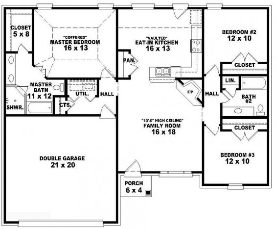 653788 one story 3 bedroom 2 bath french traditional 3 bedroom 3 bath house plans