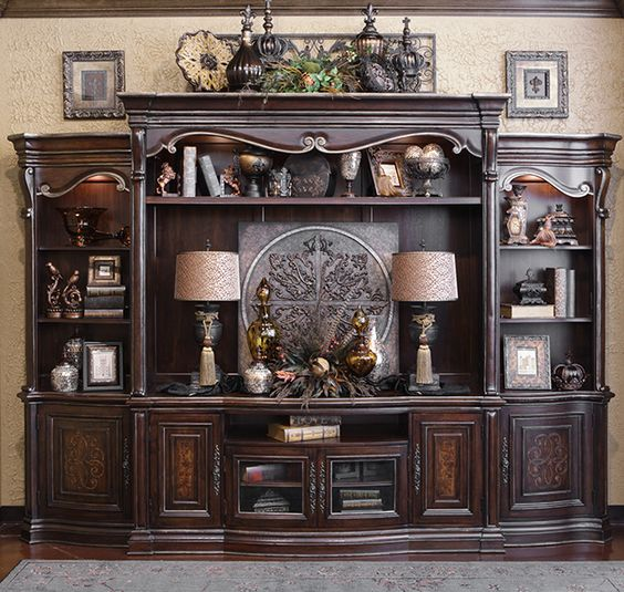 Beautiful entertainment units and tops on pinterest for Decorating entertainment center ideas