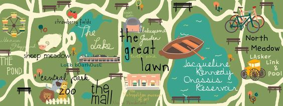 Super fun map of Central Park by Ariel Choi, #NYC