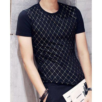 $12.86 (Buy here: http://appdeal.ru/bcv5 ) Fashion Round Neck Slimming Argyle Pattern Splicing Short Sleeve Cotton Blend T-Shirt For Men for just $12.86