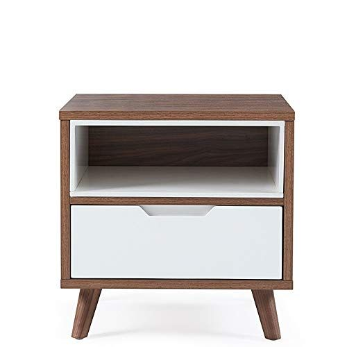 Quisilife Bedside Tables Dark Wood Nightstand Ash Wood Painted
