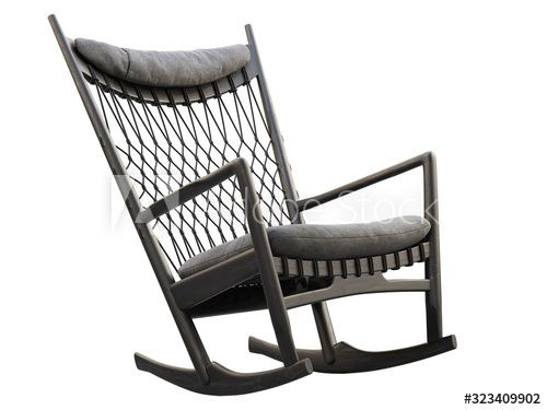 Black Wood Rocking Chair With Textile Seat And Headrest 3d Render Affiliate Rocking Chair Black Wood In 2020 Rocking Chair Wood Rocking Chair Black Wood