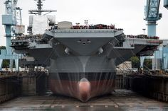 The latest aircraft carrier, USS Gerald R. Ford (CVN 78) during its christening ceremony.