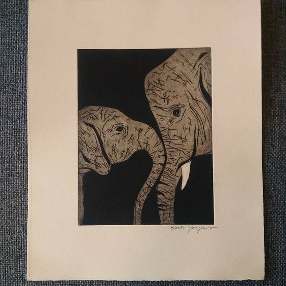 #final #print. #printmaking #intaglio #hardground #aquatint #elephants #drypoint by hyoundesign