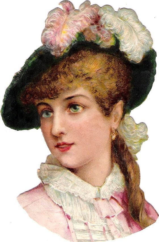 Oblaten Glanzbild scrap die cut chromo Dame lady girl head Feder Hut portrait: