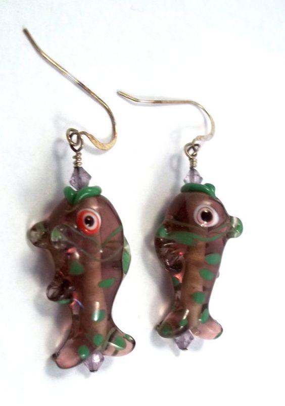Lavender and Green Spotted Fish Earrings by handmadebyartie
