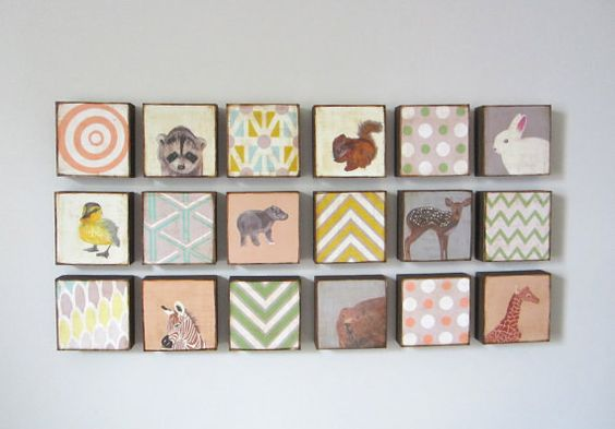 Woodland Art Block Set l Forest Animals Trees 4 by redtilestudio, $112.00