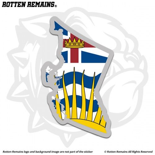 British Columbia Map Flag Decal Sticker